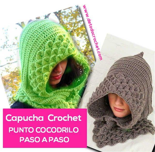 tutorial paso a paso de capucha tejida al crochet en punto cocodrilo ...