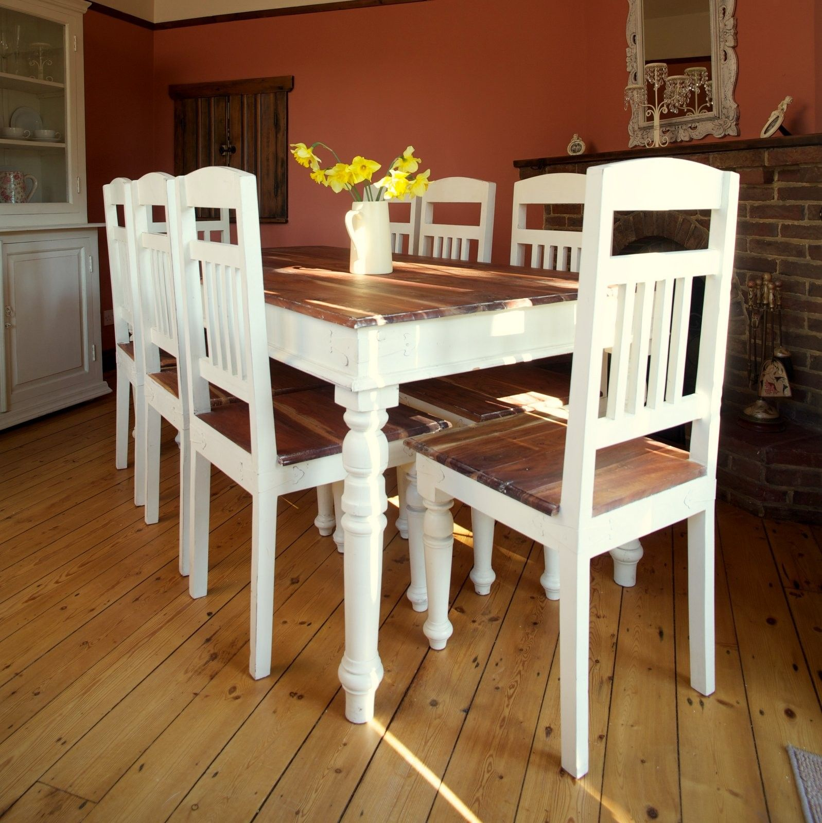 Chantilly Shabby Chic Dining Table Natural Top