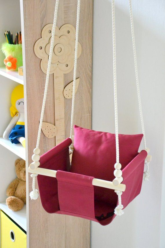 Awesome Red Fabric Baby And Toddler Swing Indoor And Outdoor Bralicious Painted Fabric Chair Ideas Braliciousco