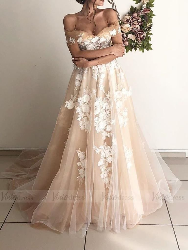 Off The Shoulder Floral Champagne Beach Wedding Dresses Vw1368 In 2020 Boho Wedding Dress Lace Wedding Dresses Lace Wedding Dress Vintage
