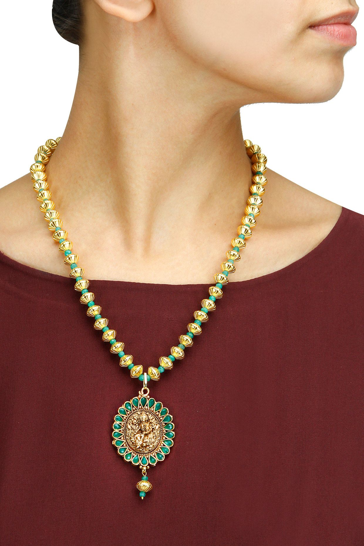 Gold plated goddess lakshmi and green onyx necklace available only