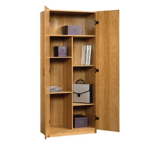 oak home or office storage cabinet organizer - great as a kitchen
