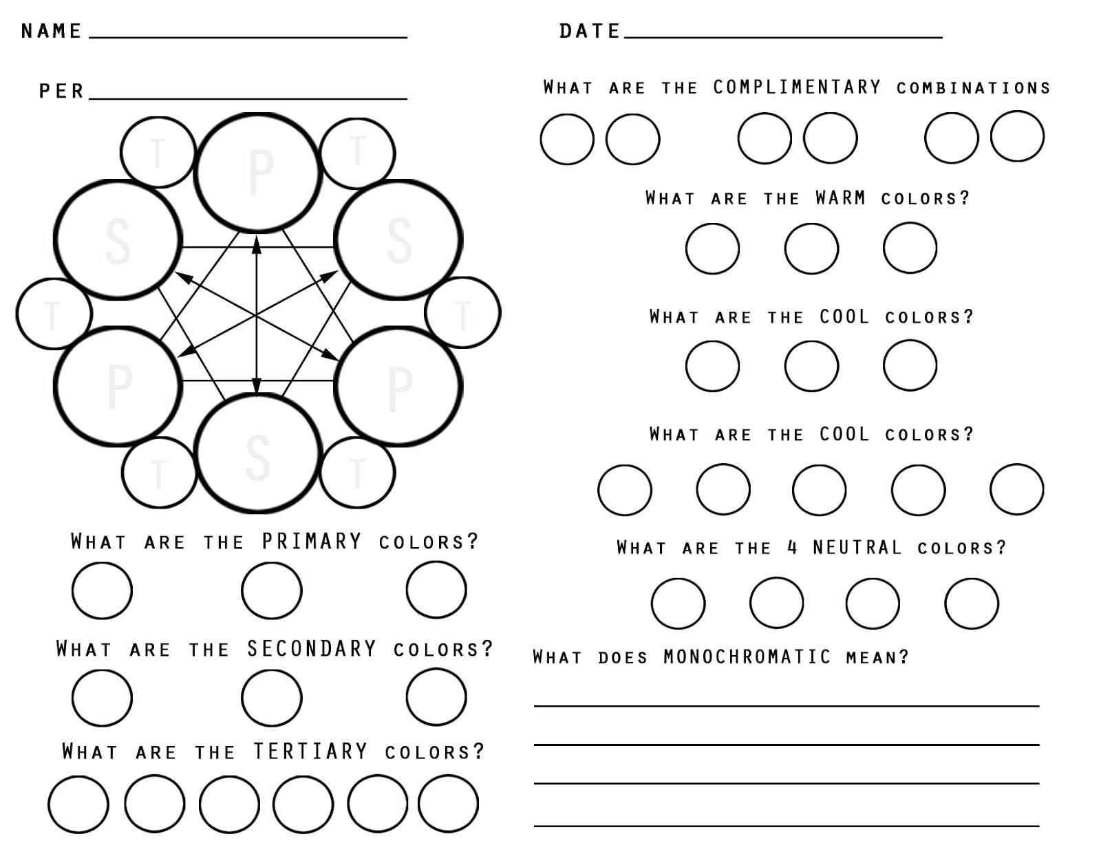 Secondary Colors Wheel Worksheet