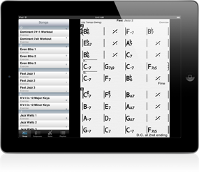 iReal b is a digital fake book which can transcribe as