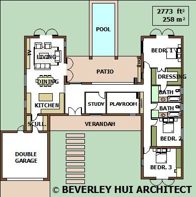 H Shaped House Plans With Pool In The Middle Pg3 Courtyard Single Storey Pool House Plans Single Storey House Plans My House Plans