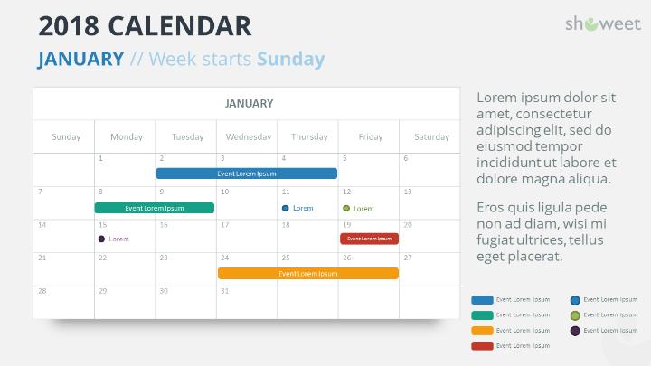 Free Calendar  Powerpoint Template  January   Week