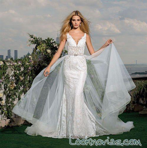 vestido de novia recto con doble falda   vestidos de novia