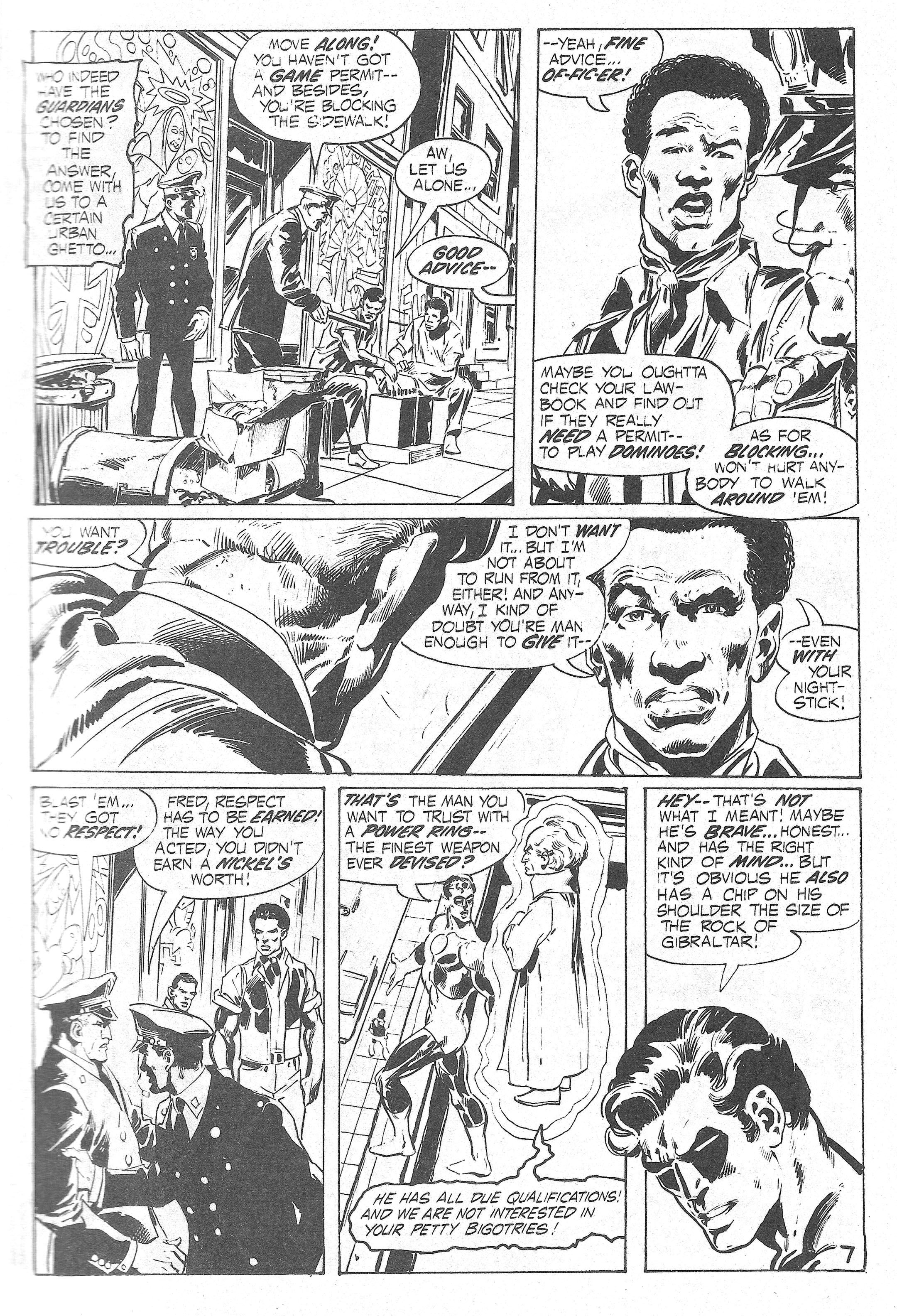 Green lantern in beware my power penciled by neal adams and inked by dick giordano pg 5