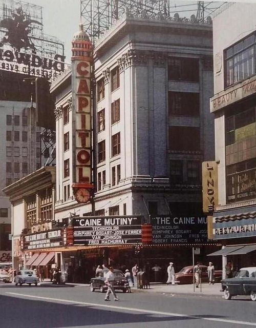 Broadway In Manhattan, 1954. This Photo Shows The Capitol