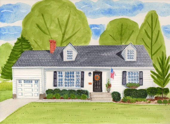 Whimsical Watercolor House Portrait By Picketfenceportraits Etsy