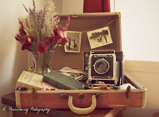 vintage suitcase vignette - Google Search