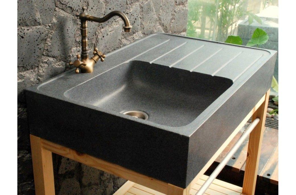 Évier de cuisine en pierre granit véritable 90x60x17 NORWAY Stone