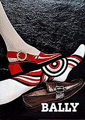 BALLY shoes AVERTISING  BROWN RED A0 CANVAS PRINT