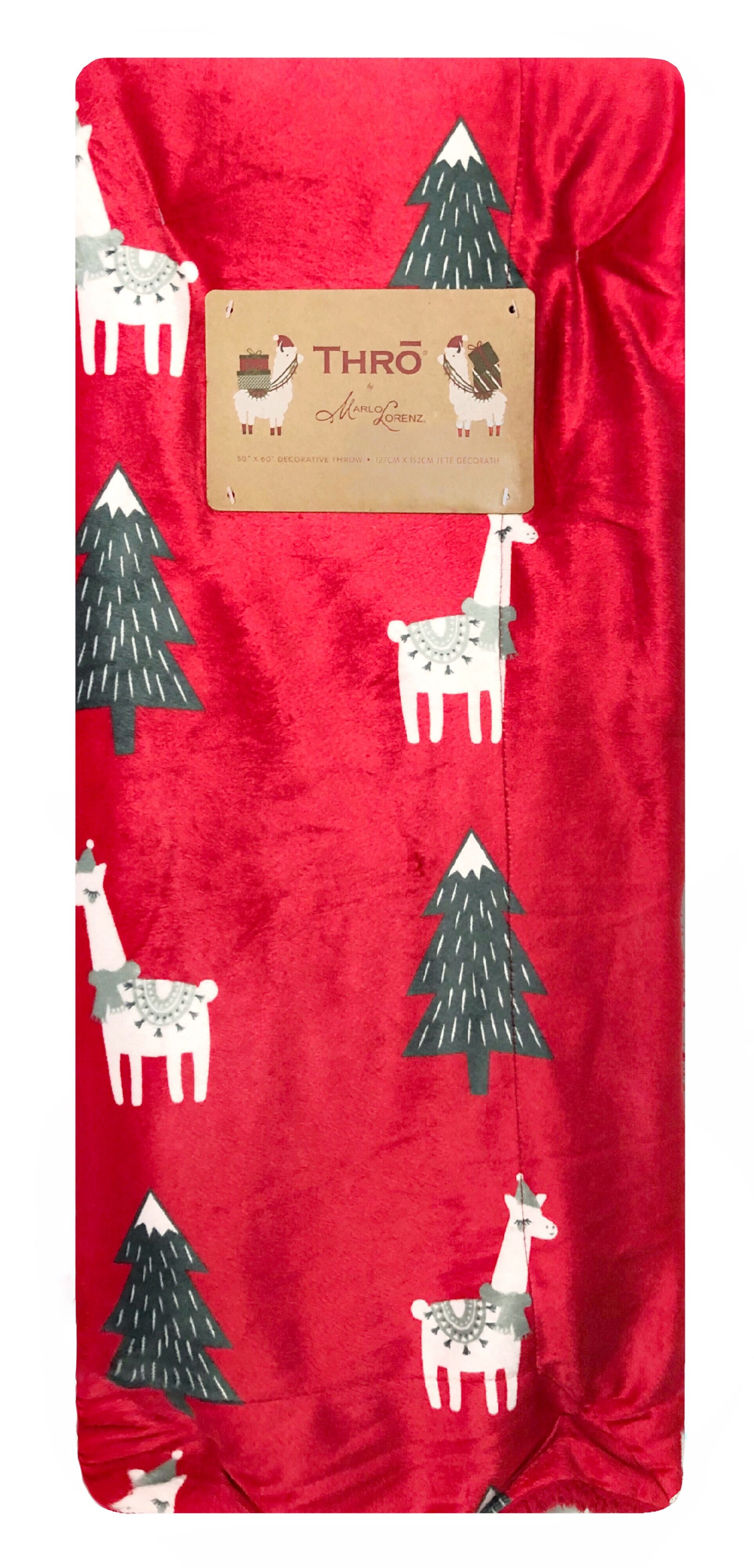 Winter Holiday Llamas Decorative Christmas Holiday Plush Throw Blanket 50 x 70