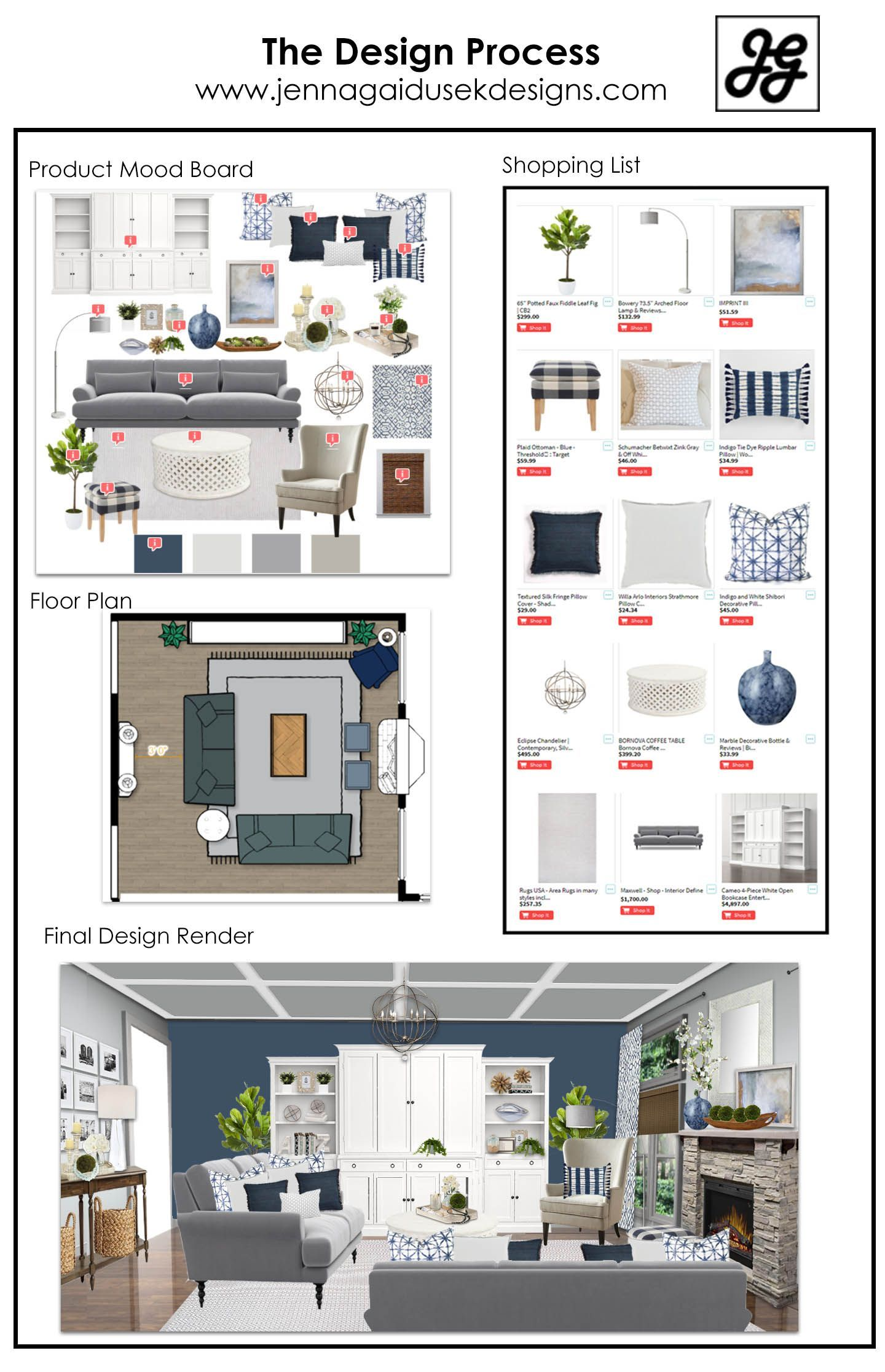 Online interior design full design package from the for Interior design concept package