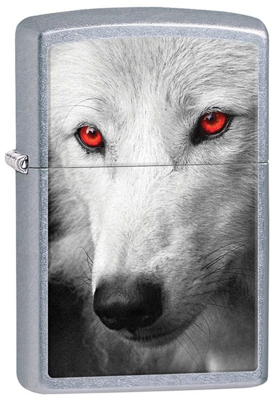 zippo animal lighter white wolf with red eyes on street chrome