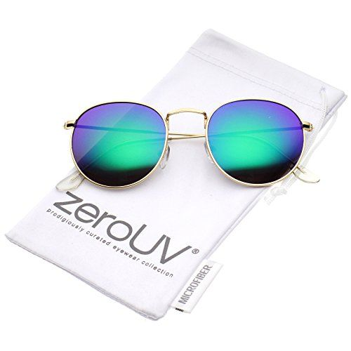6a4381670ed zeroUV Retro Metal Frame Thin Temples Colored Mirror Lens Round Sunglasses  50mm