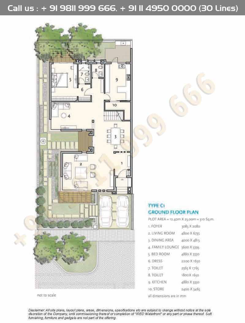 Type C1 Ground Floor Plan Courtyard House Plans Architectural Floor Plans Model House Plan