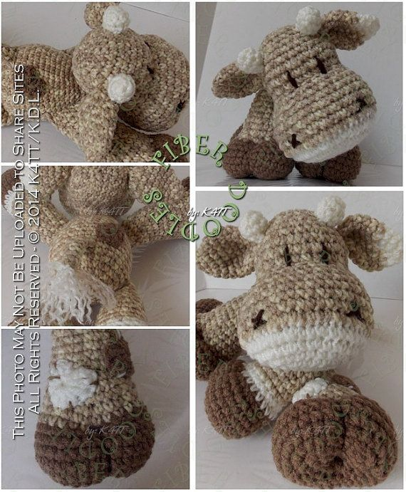 INSTANT DOWNLOAD : KISS Series  Cow Crochet Pattern