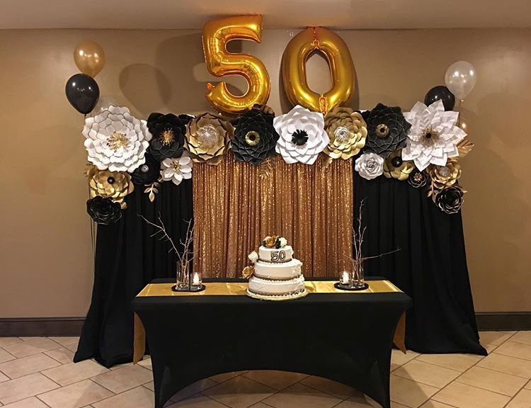 Gold And Black Backdrop Gold Birthday Party Decorations 50th