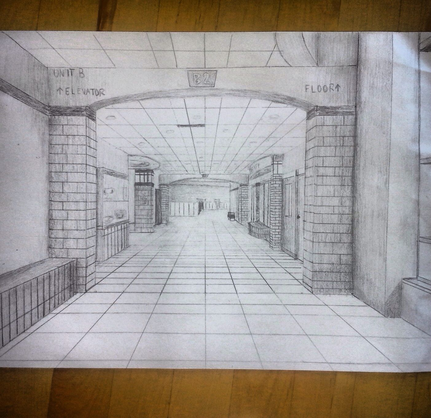 Open door drawing perspective - One Point Perspective Hallway That I Drew