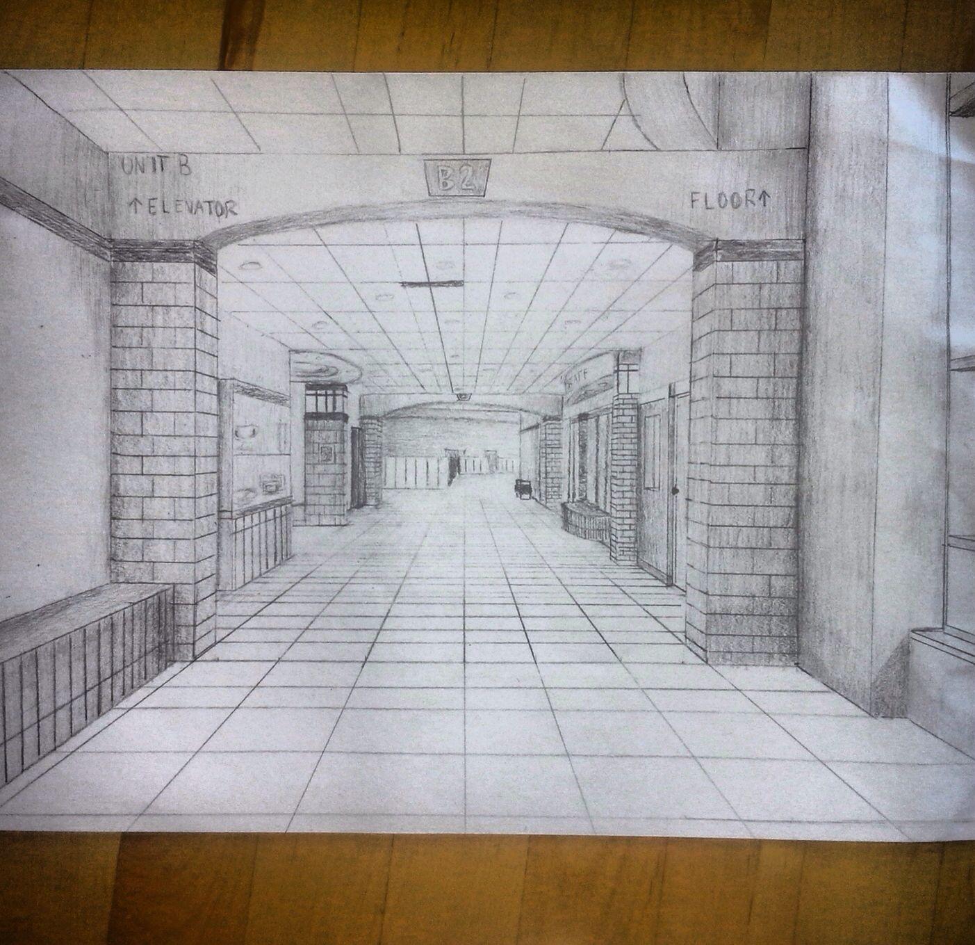 One Point Perspective Hallway That I Drew