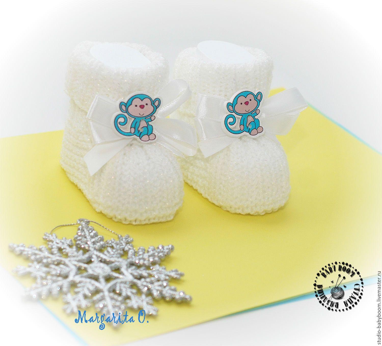 """Купить Новогодние пинетки """"Обезьянки"""" - пинетки, пинетки вязаные, пинетки для новорожденных, пинетки для девочки"""