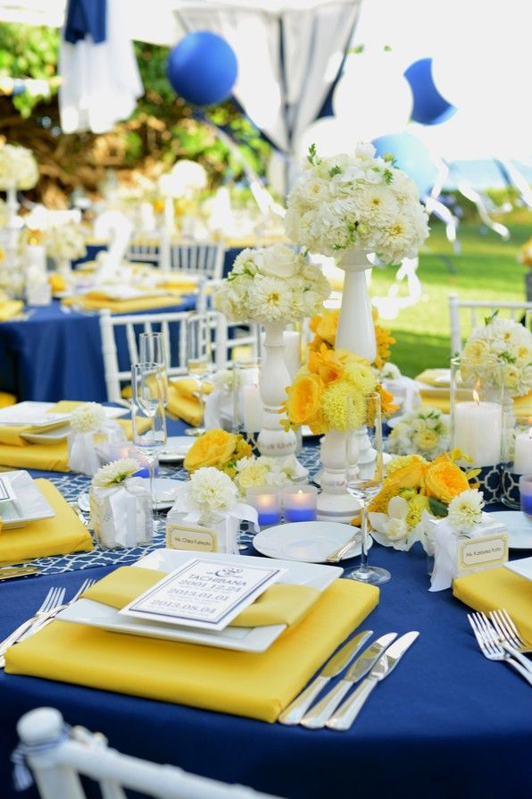 Modern preppy blue yellow and white wedding real
