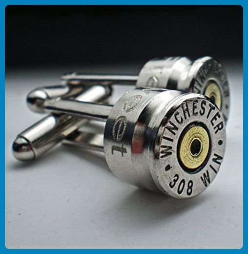 308 Rifle Win Nickel Bullet Engraved Personalized Bullet Cufflinks