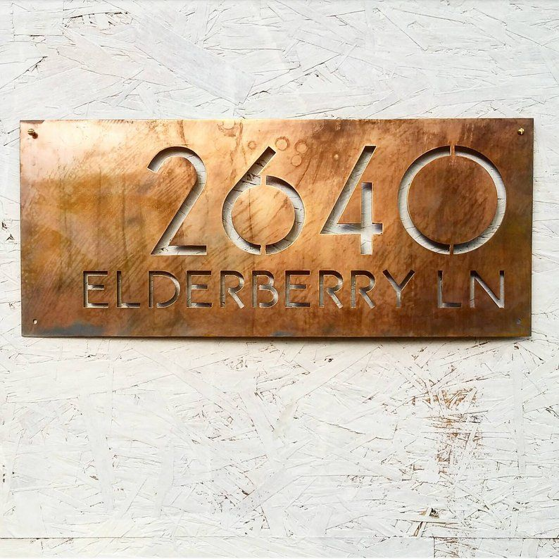 Justified Right Modern Two Line Address Plaque In Faux Copper Patina House Number Plaque Modern House Number House Numbers