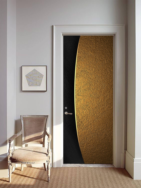 Removable Wallpaper Mural Peel & Stick Door Sticker Gold and Black