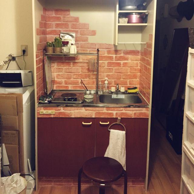 キッチン 一人暮らし 狭い部屋 シンプルにすっきりと暮らす 100均リメイク などのインテリア実例 2016 03 27 20 04 39 Roomclip ルームクリップ キッチンアイデア 部屋 シンプル リメイクシート