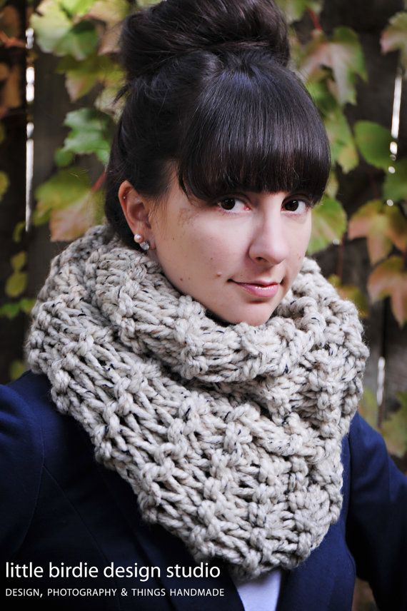 The Basic Chunky Cowl in Oatmeal  Gift by littlebirdiedesign, $48.00