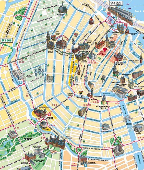 mapa turistico amsterdam Mappa turistica di Amsterdam   Cartina turistica di Amsterdam  mapa turistico amsterdam