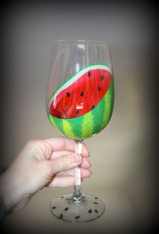 Watermelon Hand Painted Wine Glass Sliced Open Fruit Summer Spring Drinks Kitchen Decor Hand Painted Wine Glasses Wine Glass Crafts Wine Glass