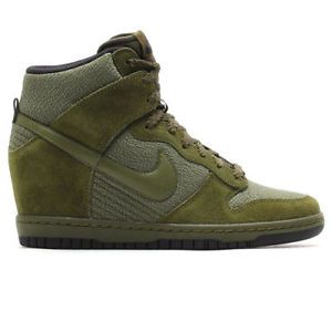 low priced 9d442 b99a5 New Nike Dunk Sky High Hi Essential Sz 6 5 Olive Green Wedge Shoes Heel   eBay