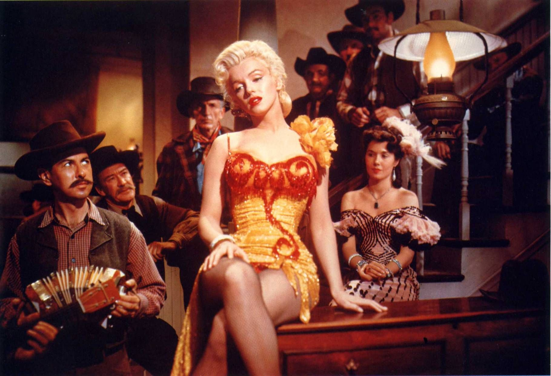 Marilyn Monroe Kay Weston Gold Charmeuse Saloon Girl Gown By