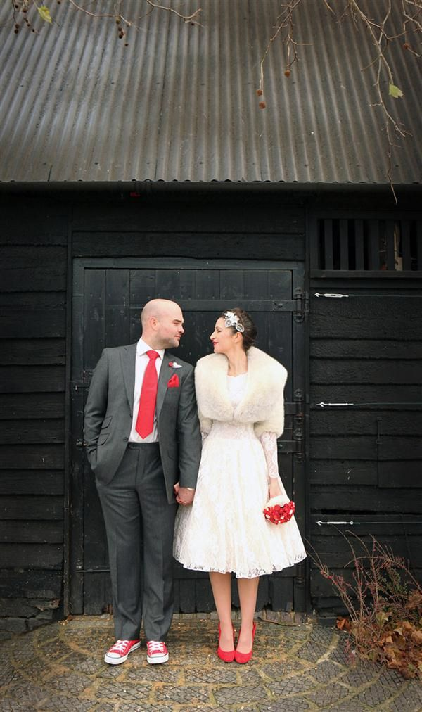 Groom In Slim Suit Red Tie Converse Image By Haywood Jones Photography