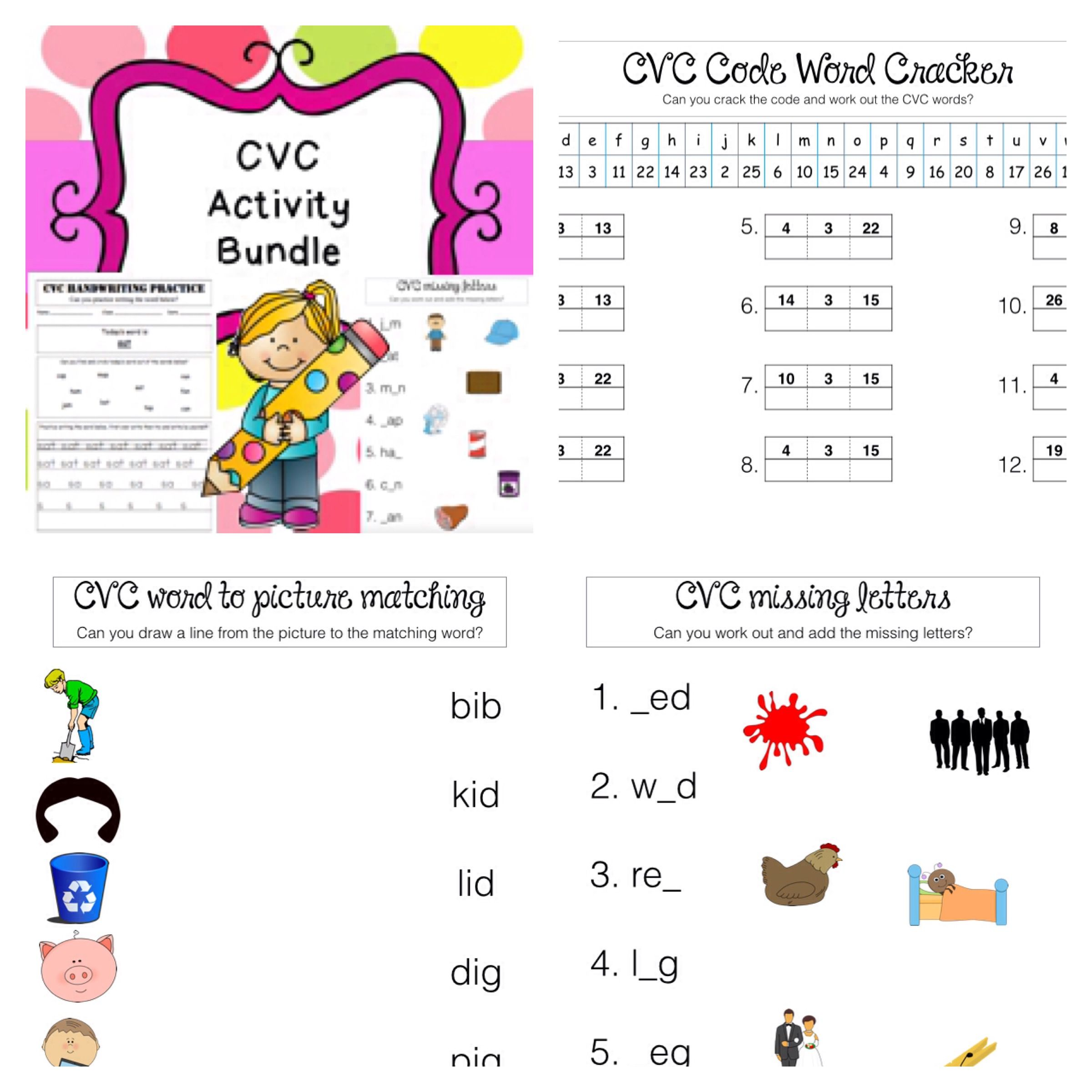 Cvc Words Activity Bundle For Kindergarten
