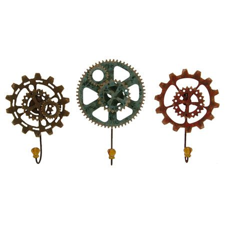 Bring industrial-chic into your entryway with these distinctive gear-shaped wall hooks, ideal for haning coats and scarves.  Product...