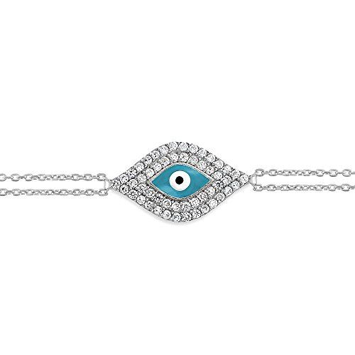 """Sterling Silver 7"""" Double-Strand Turquoise Enamel and CZ Evil Eye Bracelet -- Read more at the image link."""