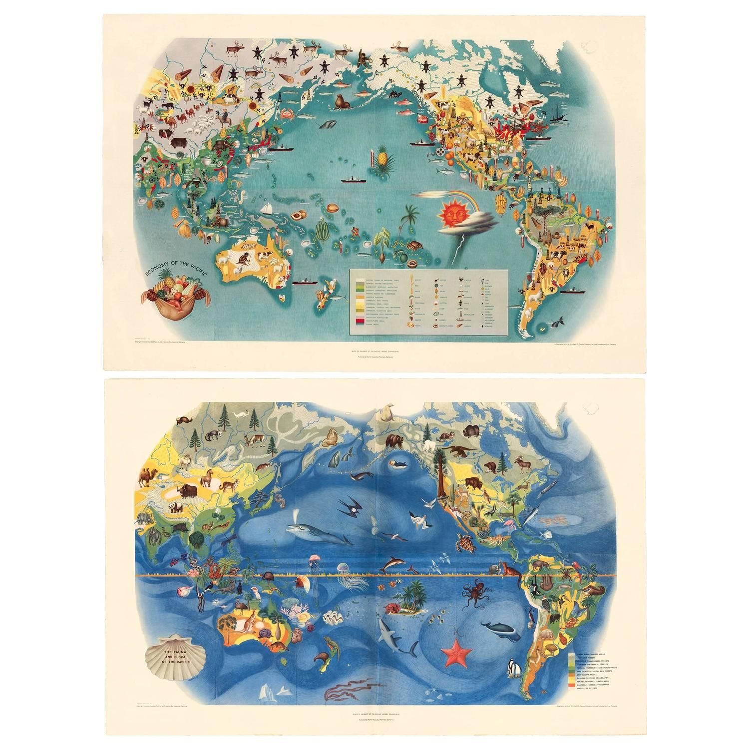 Pair Of Miguel Covarrubias Pacific Maps 1939 1stdibs Com Vintage Maps Pacific Map Modern Map