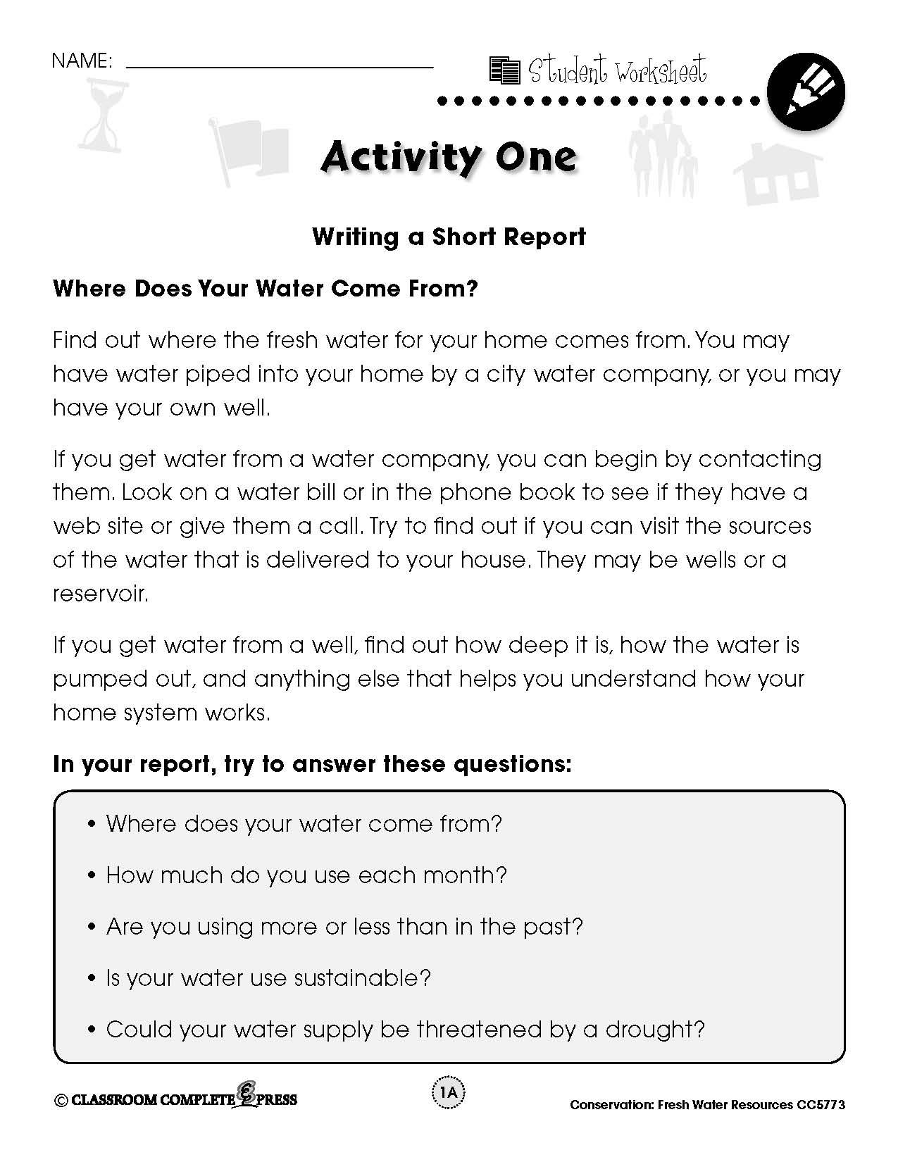 Write A Report On Where Water Comes From With This Free Activity From Ccp Interactive A Division O Fresh Water Resources Environment Day World Environment Day [ 1650 x 1275 Pixel ]