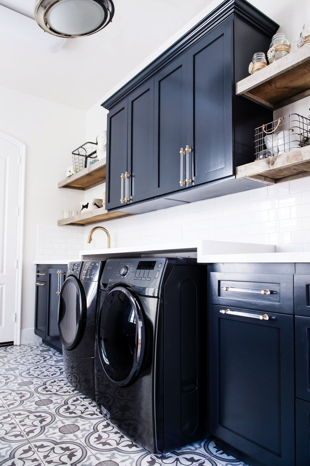 Navy Blue And Pattern Tile Modern Laundry Room By Savvy Interiors
