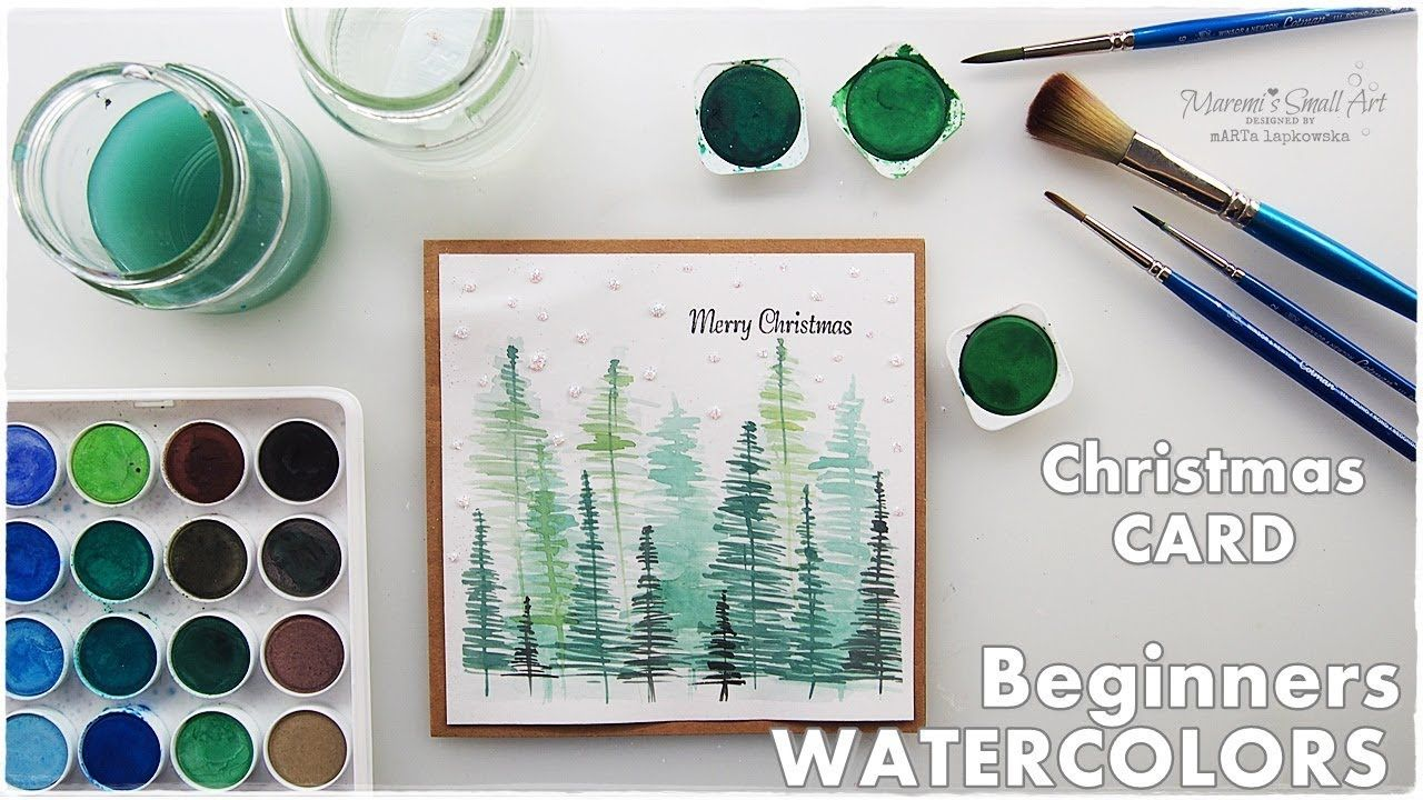 Watercolor Christmas Card Scenery Trees For Beginners Maremi S