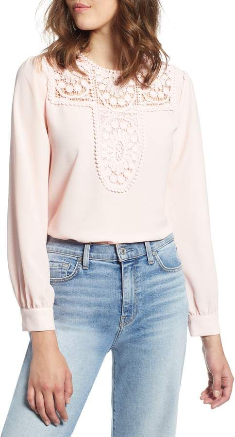 4e0663a1145 Women's Halogen Lace & Crepe Blouse, Size X-Large - Ivory in 2019 ...