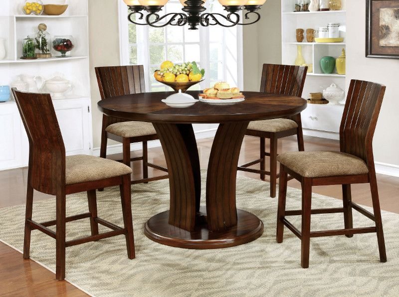 Cm3711rpt 5pc 5 Pc Montreal I Walnut Finish Wood 54 Round Top