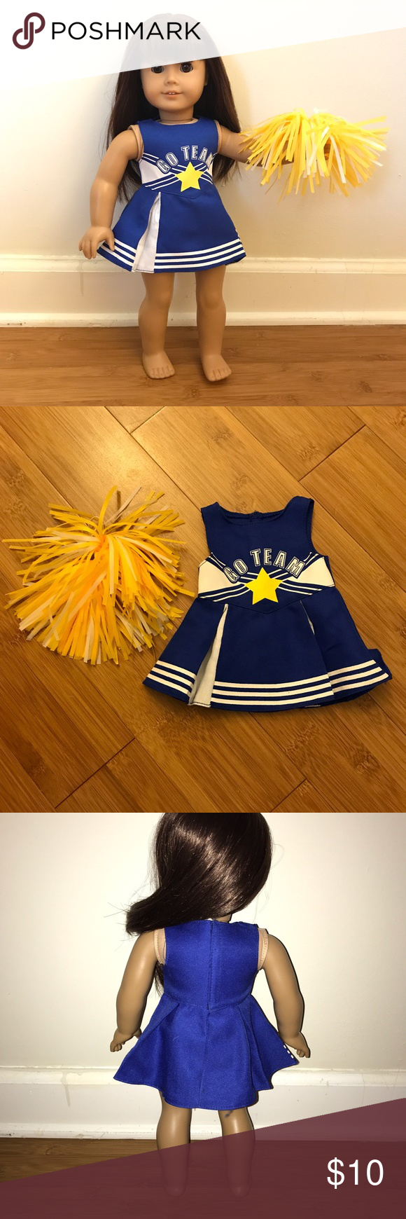 18 inch doll cheerleading outfit American girl 18 inch American girl doll cheerleading outfit. Originally purchased from Michaels from SF doll brand. Includes dress and Pom Pom. Selling from a pet free, smoke free home. Includes hanger. MAKE AN OFFER (brand is used for exposure) ⭐️ FOR LOWER ITEM PRICES AND SHIPPING PRICES BUY ON MY MERCARI! (shop.sherri) ⭐️ tags: Pink, American girl, our generation, clothes, accessories, 18 inch, hand sewn american girl Other #18inchcheerleaderclothes 1 #18inchcheerleaderclothes