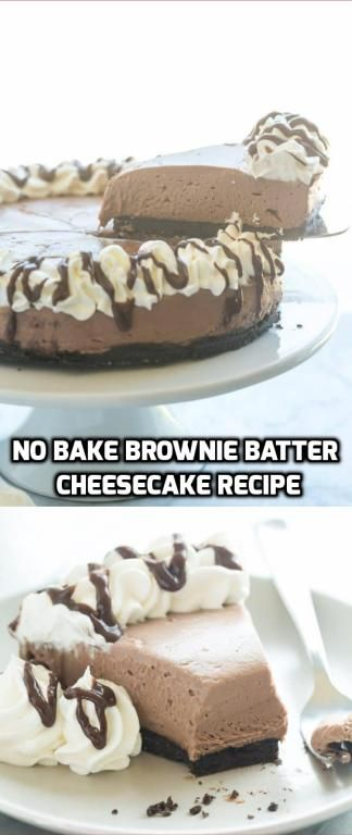 No Bake Brownie Batter Cheesecake Recipe #simplecheesecakerecipe