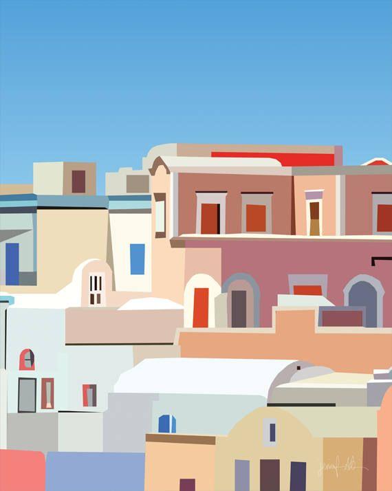 Photo of Santorini wall art print Contemporary art Mediterranean decor Printable art Modern wall art Colorful wall art Architecture art Oia art print